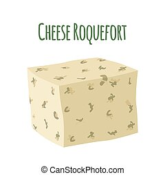 Roquefort cheese with mould. Dairy milky product. Flat...