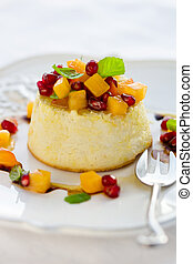 Roquefort cheesecake with fruits