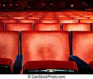 ror, av, röd, sammet, teater sittplats