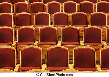 ror, av, röd, teater sittplats