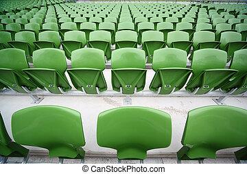 ror, mycket, fokusera, plastisk, hoplagd, stor, sittplatser, främre del, grön, tom, stadium.