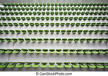 ror, mycket, plastisk, hoplagd, stor, sittplatser, grön, tom, stadium.