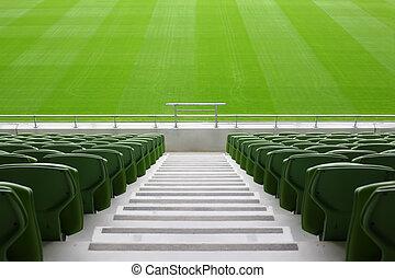 ror, stadion, mycket, plastisk, hoplagd, stor, sittplatser, grön, tom