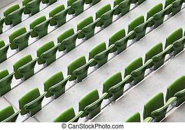 ror, vikbar, många, sittplatser, stadium., stor, grön, plastisk, tom