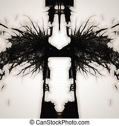 Rorschach - An illustration of a black and white Rorschach...