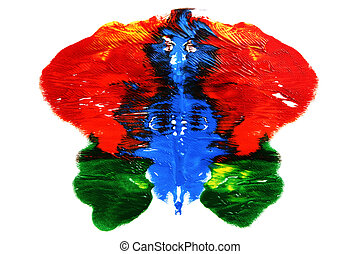 Rorschach test - Rorschach inkblot of different colors on a...