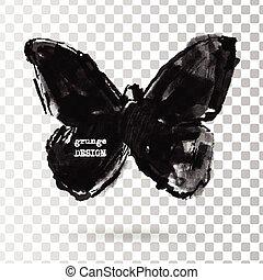 Rorschach test illustration. - Monochrome Silhouette of...