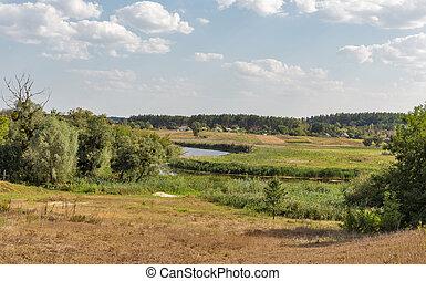 Ros river rural landscape, Ukraine.