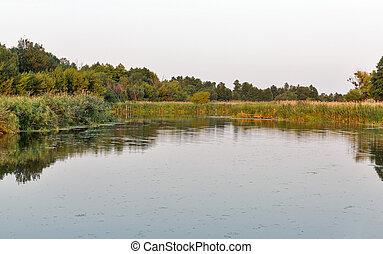 Ros river sunset landscape, Ukraine.