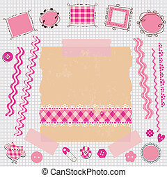 rosa, álbum de recortes, kit