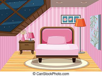 rosa, ático, dormitorio