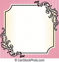 rosa, årgång, ram, rokoko