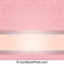 rosa, &, årgång, tapet, blid, design, inbjudan, silver