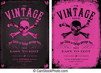 rosa, årgång, vektor, sätta, affisch