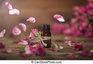 rosa, óleo, essencial