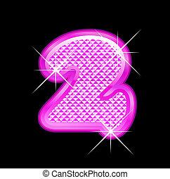 rosa, 2, bling, número, girly