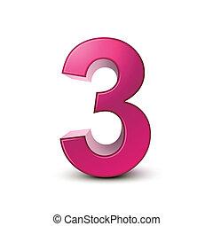 rosa, 3, brillante, número, 3d