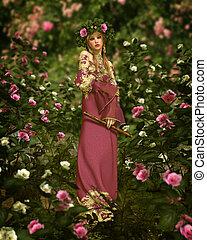 rosa, 3d, jardim, cg