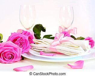 rosa, abendessen, romantische , anordnung