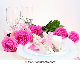 rosa, abendessen, romantische , zwei