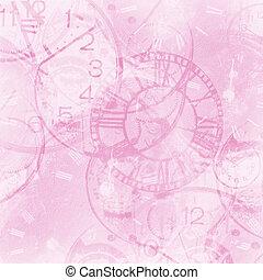 rosa, abstrakt, weinlese, uhr, hintergrund