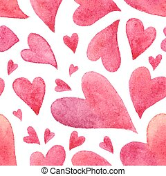 rosa, acuarela, pintado, corazones, seamless, patrón