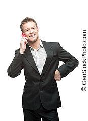 rosa, affärsman, cell, räcka telefonera