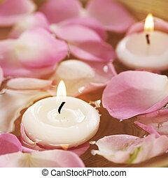 rosa, agua, Pétalos, velas, balneario, Flotar