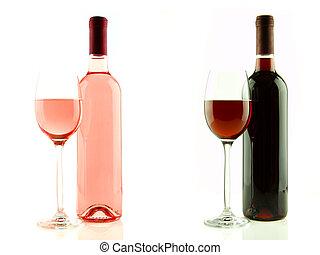 rosa, aislado, botella de vidrio, vino rojo