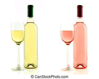 rosa, aislado, botella de vidrio, vino blanco