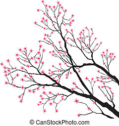 rosa, albero, fiori, rami