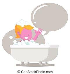 rosa, allegro, ragazza, callout, vasca bagno