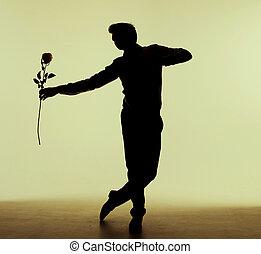 rosa, alto, uomo, ballo