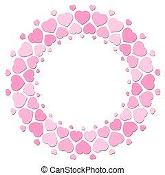 rosa, amore, modello, cornice, cuori, rotondo