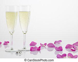 rosa, anelli, due, prossimo, petali, matrimonio, flauti ...