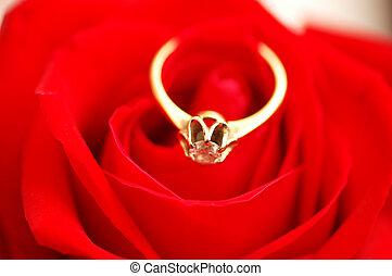 rosa, anello, diamante, rosso, oro