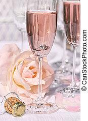rosa, anello, fiori, champagne