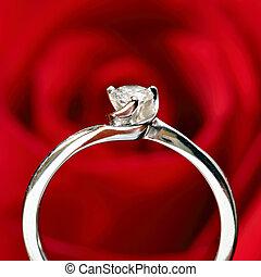 rosa, anillo, fondo rojo