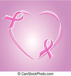rosa, apoyo, cinta