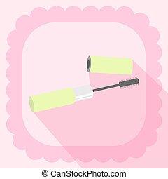 rosa, appartamento, mascara, fondo, icona