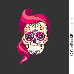 rosa, appartamento, stile, taglio, cranio, calavera, morto, zucchero, carta, vettore, illustrazione, femmina, hair., giorno