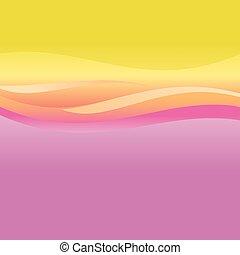 rosa, arancia, astratto, vettore, onde