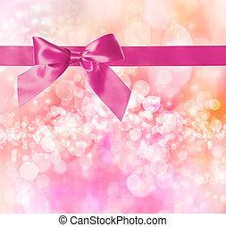 rosa, arco, y, cinta, con, rosa, bokeh, luces