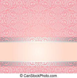rosa, &, argento, gentile, invito, vendemmia, carta da parati, disegno