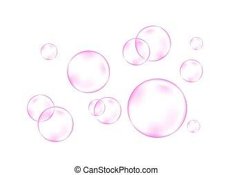 rosa, aria, acqua, bubbles., fizzing, o