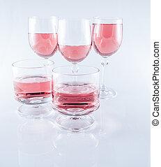 rosa, aufgehalten, hintergrund, weißwein, brille