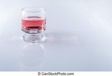 rosa, aufgehalten, raum, brille, hintergrund, weißes, kopie...