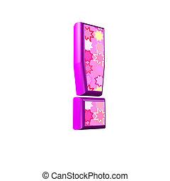 rosa, ausrufezeichen, freigestellt, hintergrund, weißes, 3d