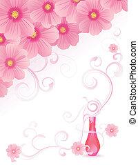 rosa, avbild, vektor, vällukt