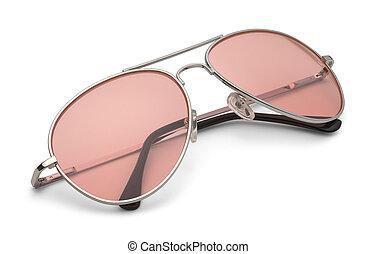 rosa, aviatore, occhiali